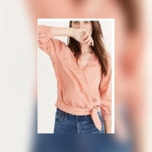 Madewell Peach Wrap In Star Scatter Blouse